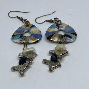 Artisan bird earrings painted ceramic dangle beads
